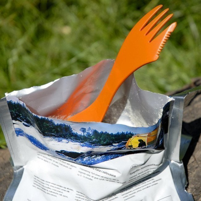 Фото 3 в 1 - ложка + вилка + нож LIGHT MY FIRE Spork XM (2 предмета), оранжевая/черная купить в Украине по недорогой цене для рыбалки
