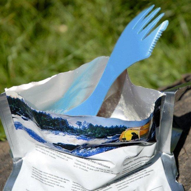 Фото 3 в 1 - ложка + вилка + нож LIGHT MY FIRE Spork XM (2 предмета), фуксия/голубая купить в Украине по недорогой цене для рыбалки