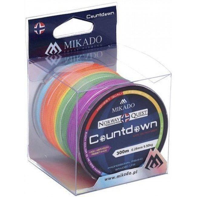 Фото Плетеный шнур Mikado Norway Quest Countdown 300м multicolor купить в Украине по недорогой цене для рыбалки