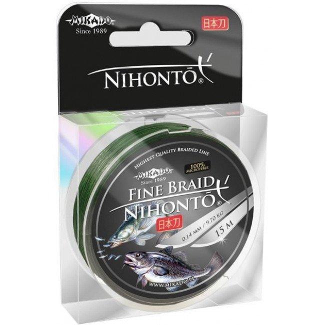 Фото Плетеный шнур Mikado NIHONTO FINE BRAID 15 м купить в Украине по недорогой цене для рыбалки