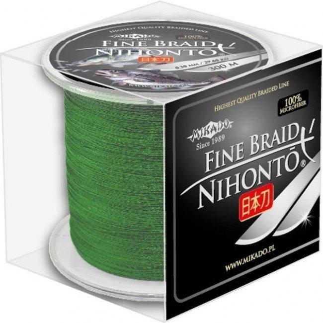 Фото Плетеный шнур Mikado NIHONTO FINE BRAID 300м зеленый купить в Украине по недорогой цене для рыбалки